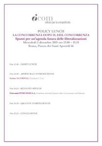 Agenda POLICY LUNCH _La concorrenza dopo il Ddl concorrenza_con Pres. Pitruzzella_2 dic.